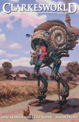 """Idle Roomer"" by Mike Resnick & Lezli Robyn, appeared in Issue #26 of CLARKESWORLD magazine. Edited by Neil Clarke. Podcast read by Cat Rambo. Cover by David Renn. (United States, November 2008)"