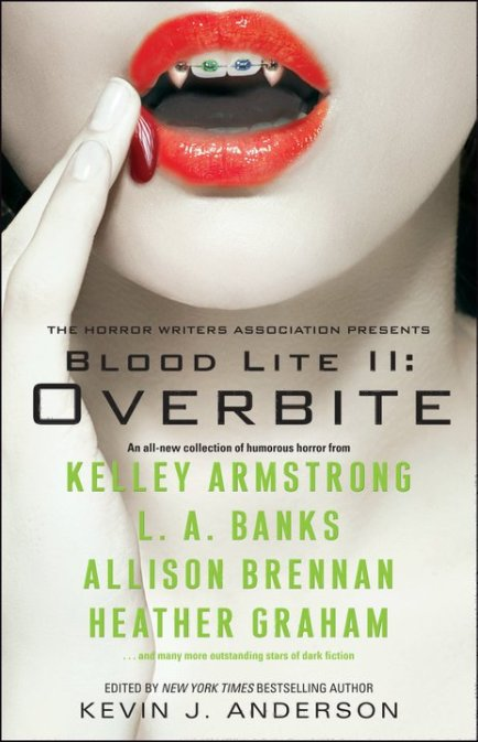 """The Close Shave"" by Mike Resnick & Lezli Robyn, appeared in the BLOOD LITE 2: OVERBITE anthology by SIMON & SCHUSTER. Edited by Kevin J. Anderson. Cover design by Lisa Litwack. (United States, October 2010)"